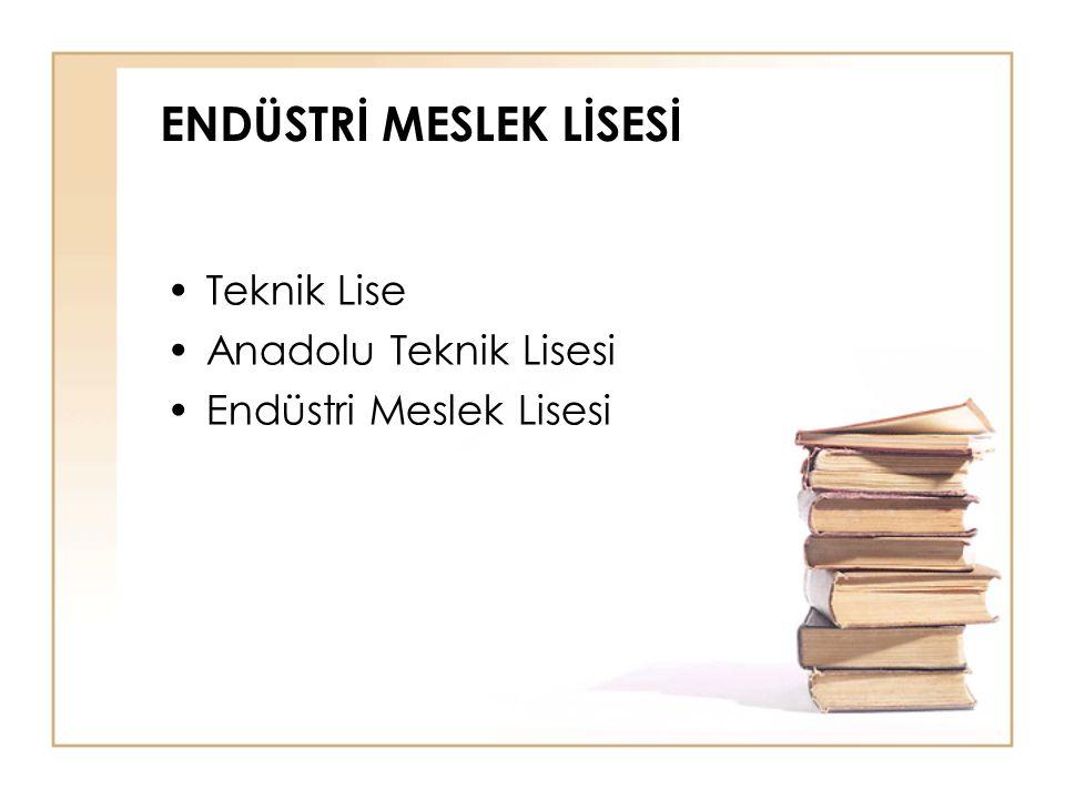 ENDÜSTRİ MESLEK LİSESİ Teknik Lise Anadolu Teknik Lisesi Endüstri Meslek Lisesi