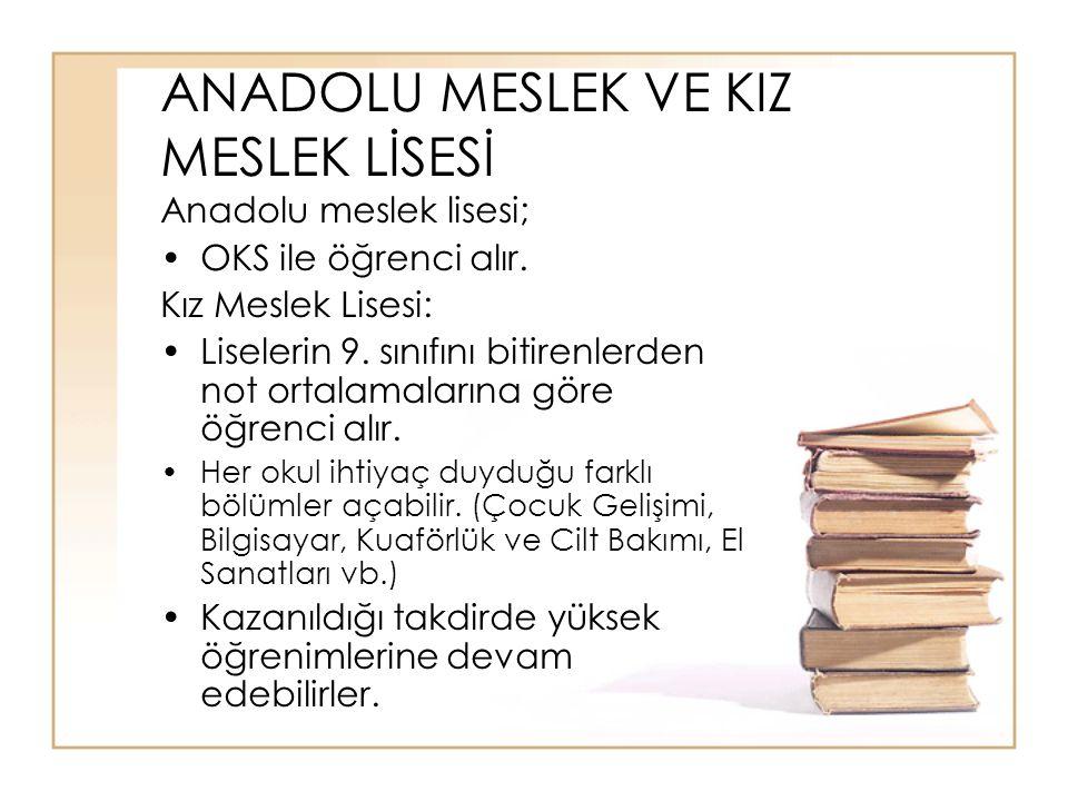 ANADOLU MESLEK VE KIZ MESLEK LİSESİ Anadolu meslek lisesi; OKS ile öğrenci alır.