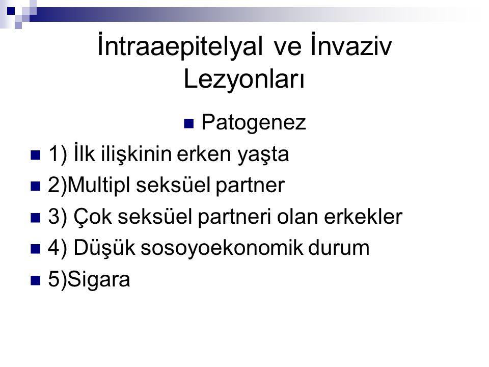 İntraaepitelyal ve İnvaziv Lezyonları Patogenez 1) İlk ilişkinin erken yaşta 2)Multipl seksüel partner 3) Çok seksüel partneri olan erkekler 4) Düşük