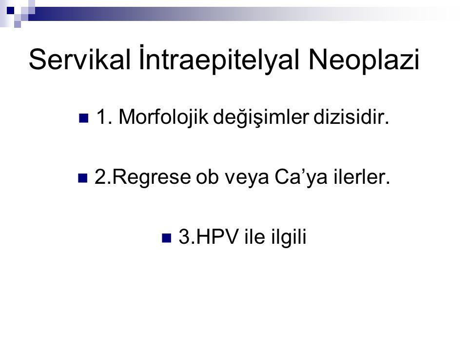 Servikal İntraepitelyal Neoplazi 1. Morfolojik değişimler dizisidir. 2.Regrese ob veya Ca'ya ilerler. 3.HPV ile ilgili
