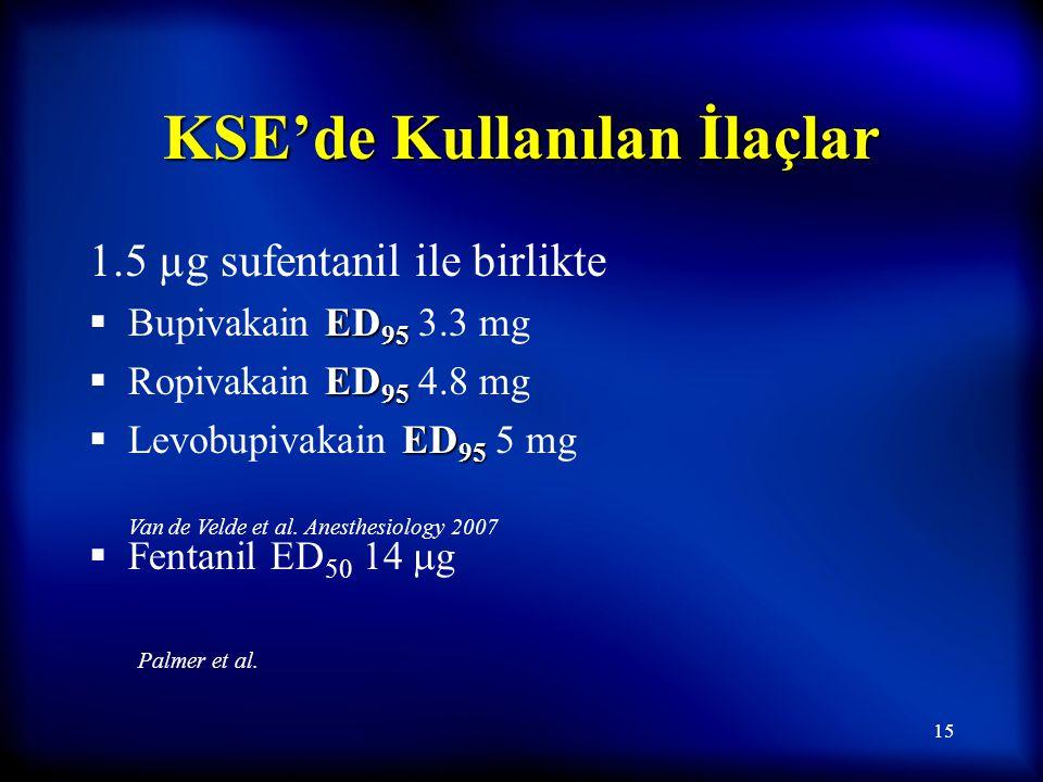 14 Epidural ve KSE Analjezi Epidural Epidural Test dozundan 1-5 dk sonra 50 µg fentanil içeren %0.1 bupivakain (7-10 mL) KSE KSE 15-20 µg fentanil 15-