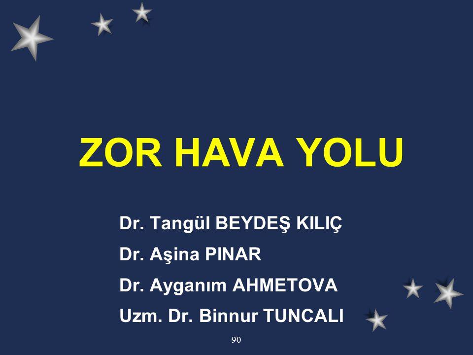 90 ZOR HAVA YOLU Dr. Tangül BEYDEŞ KILIÇ Dr. Aşina PINAR Dr. Ayganım AHMETOVA Uzm. Dr. Binnur TUNCALI.