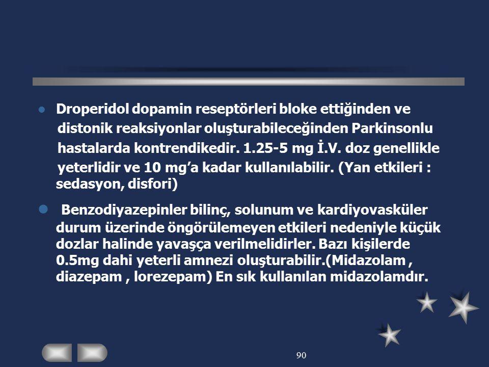 90 Droperidol dopamin reseptörleri bloke ettiğinden ve distonik reaksiyonlar oluşturabileceğinden Parkinsonlu hastalarda kontrendikedir. 1.25-5 mg İ.V