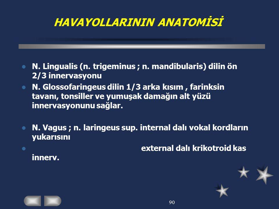 90 HAVAYOLLARININ ANATOMİSİ N. Lingualis (n. trigeminus ; n. mandibularis) dilin ön 2/3 innervasyonu N. Glossofaringeus dilin 1/3 arka kısım, farinksi