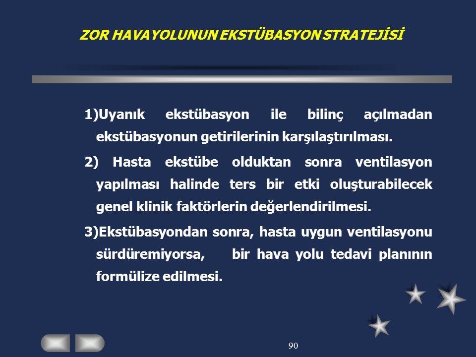 90 ZOR HAVAYOLUNUN EKSTÜBASYON STRATEJİSİ 1)Uyanık ekstübasyon ile bilinç açılmadan ekstübasyonun getirilerinin karşılaştırılması. 2) Hasta ekstübe ol