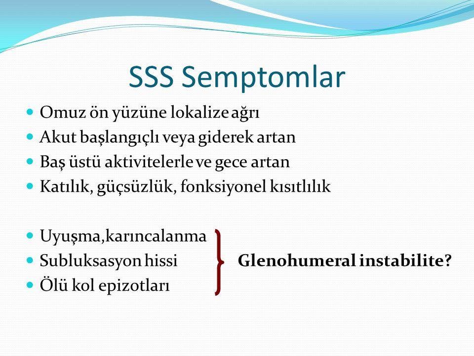 SSS Semptomlar Omuz ön yüzüne lokalize ağrı Akut başlangıçlı veya giderek artan Baş üstü aktivitelerle ve gece artan Katılık, güçsüzlük, fonksiyonel k
