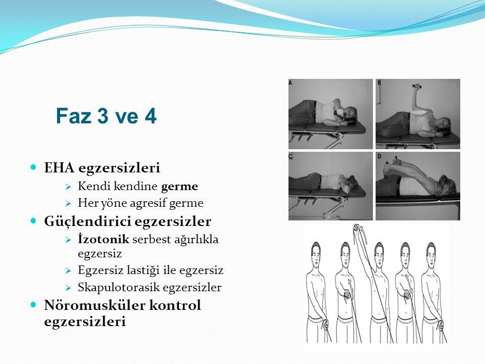 Faz 3 ve 4 EHA egzersizleri  Kendi kendine germe  Her yöne agresif germe Güçlendirici egzersizler  İzotonik serbest ağırlıkla egzersiz  Egzersiz l