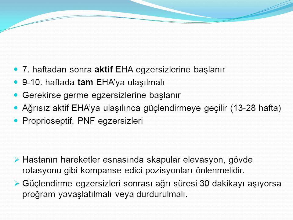 7. haftadan sonra aktif EHA egzersizlerine başlanır 9-10. haftada tam EHA'ya ulaşılmalı Gerekirse germe egzersizlerine başlanır Ağrısız aktif EHA'ya u
