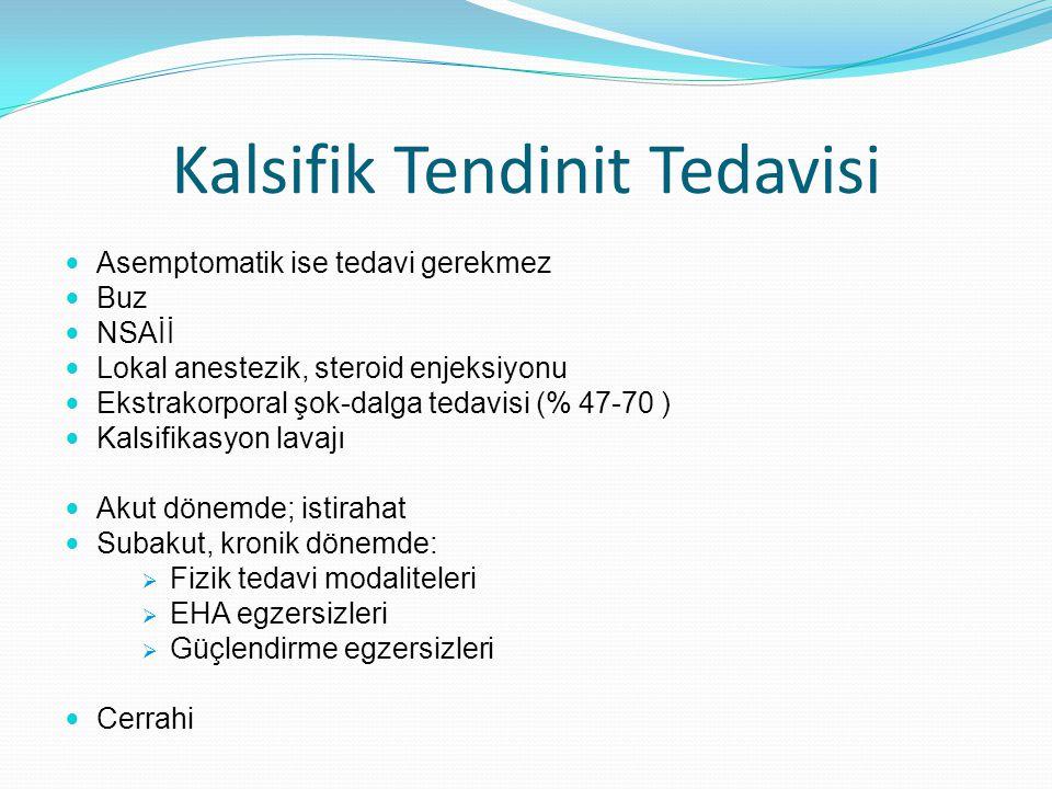 Kalsifik Tendinit Tedavisi Asemptomatik ise tedavi gerekmez Buz NSAİİ Lokal anestezik, steroid enjeksiyonu Ekstrakorporal şok-dalga tedavisi (% 47-70