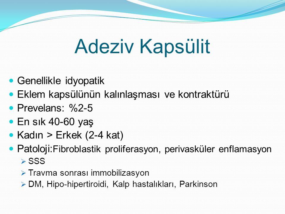 Adeziv Kapsülit Genellikle idyopatik Eklem kapsülünün kalınlaşması ve kontraktürü Prevelans: %2-5 En sık 40-60 yaş Kadın > Erkek (2-4 kat) Patoloji: F