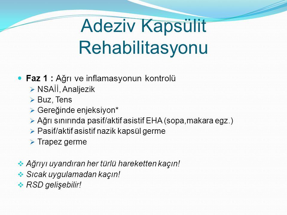Adeziv Kapsülit Rehabilitasyonu Faz 1 : Ağrı ve inflamasyonun kontrolü  NSAİİ, Analjezik  Buz, Tens  Gereğinde enjeksiyon*  Ağrı sınırında pasif/a