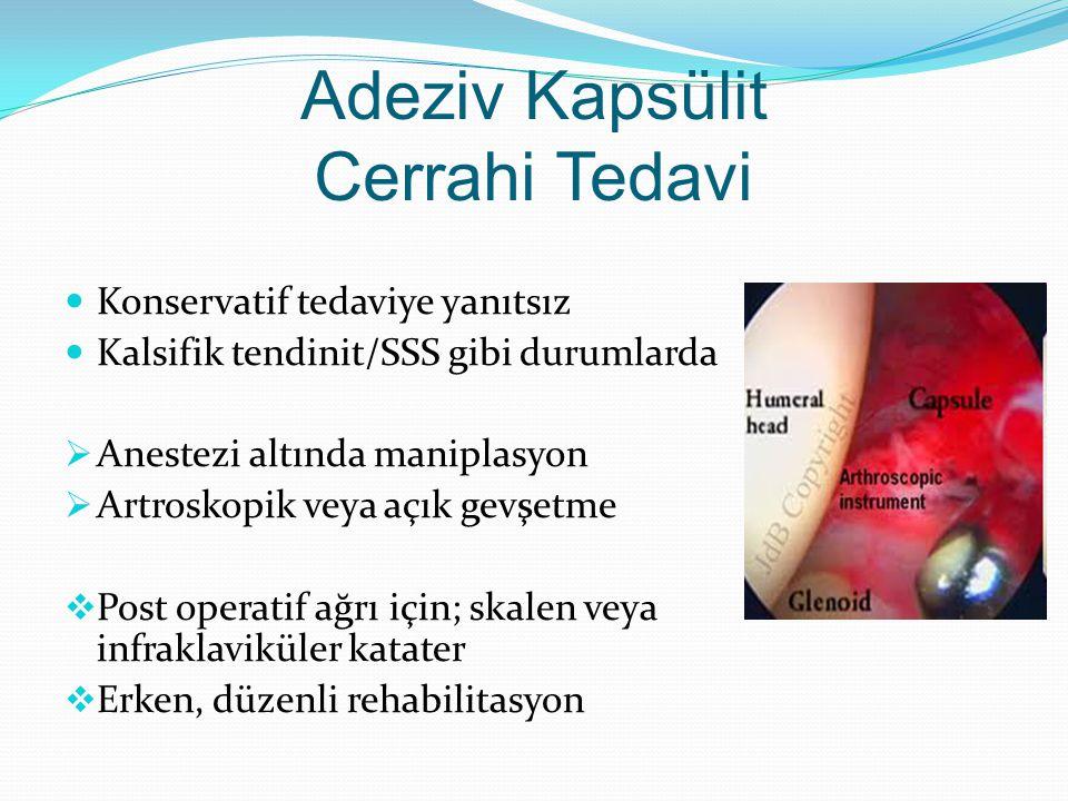 Adeziv Kapsülit Cerrahi Tedavi Konservatif tedaviye yanıtsız Kalsifik tendinit/SSS gibi durumlarda  Anestezi altında maniplasyon  Artroskopik veya açık gevşetme  Post operatif ağrı için; skalen veya infraklaviküler katater  Erken, düzenli rehabilitasyon