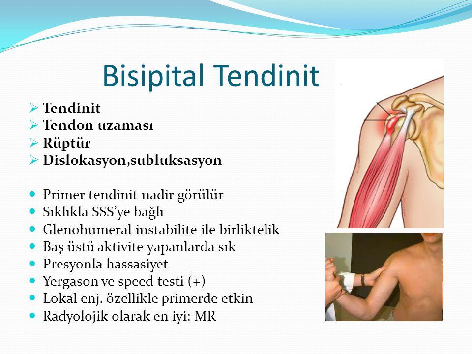 Bisipital Tendinit  Tendinit  Tendon uzaması  Rüptür  Dislokasyon,subluksasyon Primer tendinit nadir görülür Sıklıkla SSS'ye bağlı Glenohumeral in