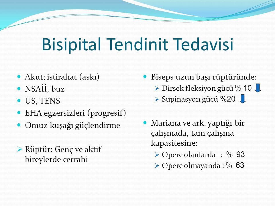 Bisipital Tendinit Tedavisi Akut; istirahat (askı) NSAİİ, buz US, TENS EHA egzersizleri (progresif) Omuz kuşağı güçlendirme  Rüptür: Genç ve aktif bi