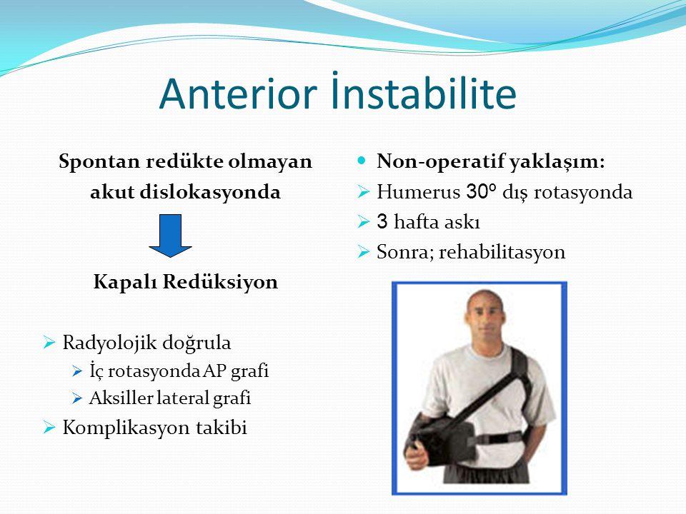 Anterior İnstabilite Spontan redükte olmayan akut dislokasyonda Kapalı Redüksiyon  Radyolojik doğrula  İç rotasyonda AP grafi  Aksiller lateral grafi  Komplikasyon takibi Non-operatif yaklaşım:  Humerus 30º dış rotasyonda  3 hafta askı  Sonra; rehabilitasyon