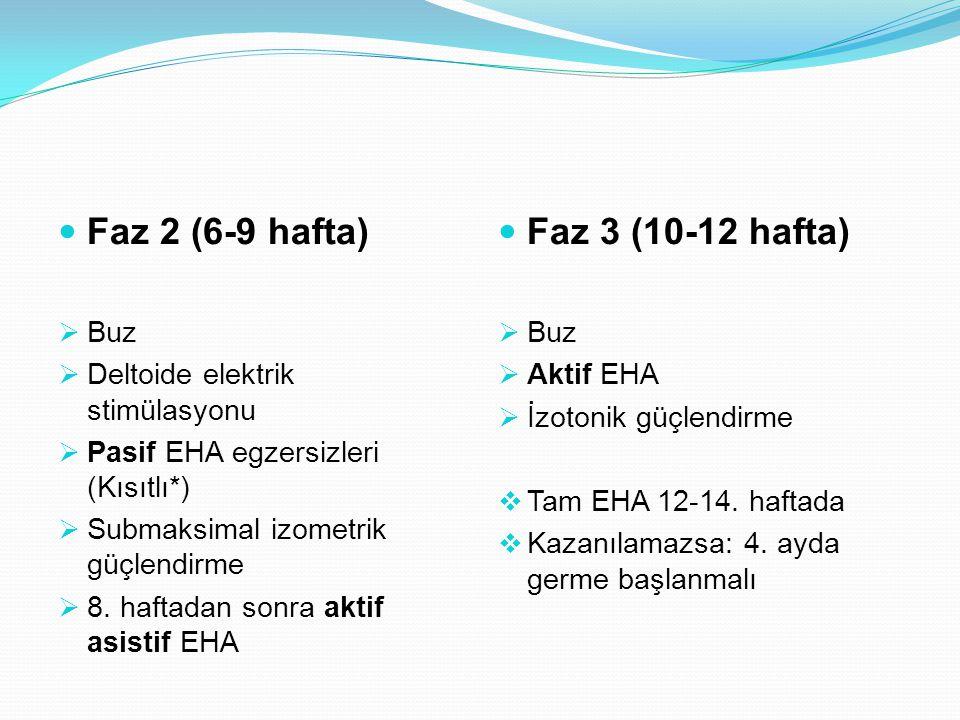 Faz 2 (6-9 hafta)  Buz  Deltoide elektrik stimülasyonu  Pasif EHA egzersizleri (Kısıtlı*)  Submaksimal izometrik güçlendirme  8. haftadan sonra a