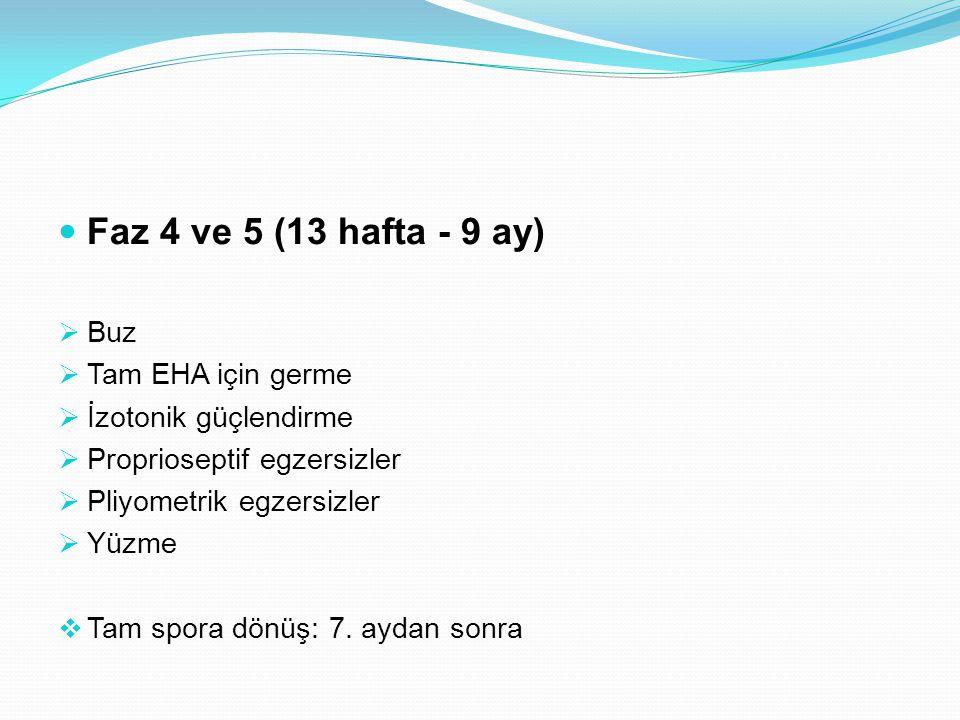 Faz 4 ve 5 (13 hafta - 9 ay)  Buz  Tam EHA için germe  İzotonik güçlendirme  Proprioseptif egzersizler  Pliyometrik egzersizler  Yüzme  Tam spo