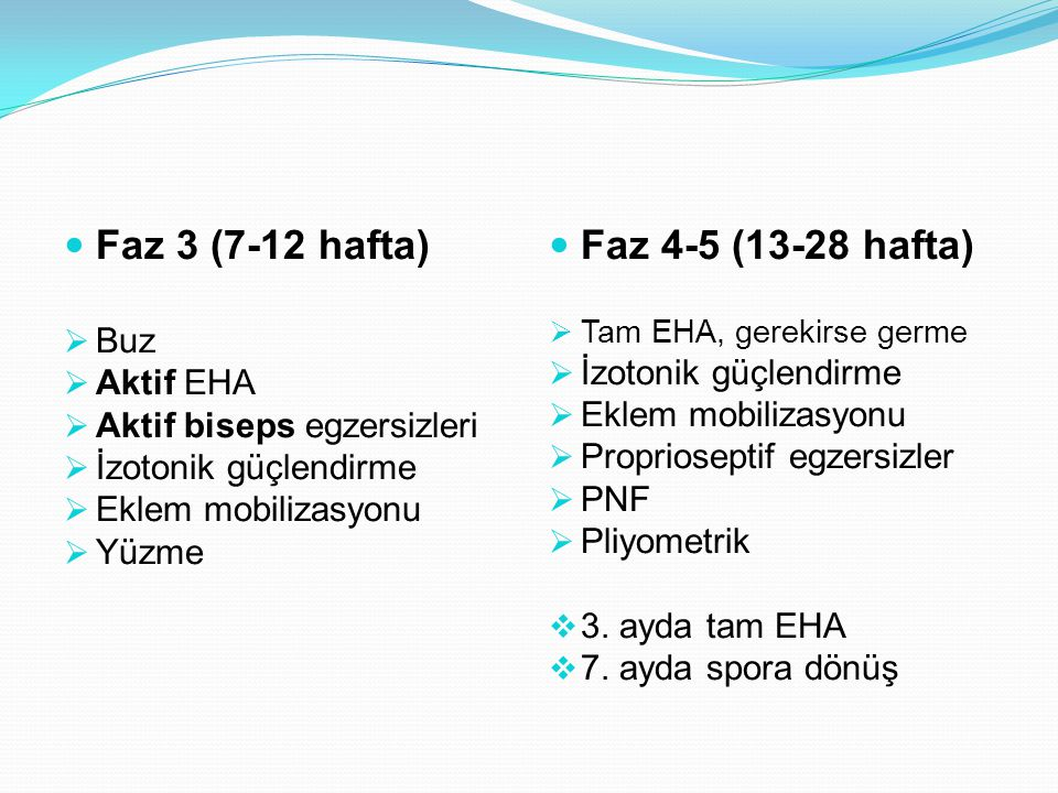 Faz 3 (7-12 hafta)  Buz  Aktif EHA  Aktif biseps egzersizleri  İzotonik güçlendirme  Eklem mobilizasyonu  Yüzme Faz 4-5 (13-28 hafta)  Tam EHA, gerekirse germe  İzotonik güçlendirme  Eklem mobilizasyonu  Proprioseptif egzersizler  PNF  Pliyometrik  3.