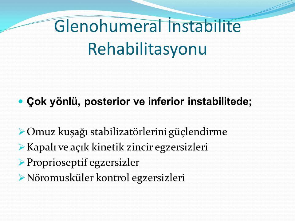 Glenohumeral İnstabilite Rehabilitasyonu Çok yönlü, posterior ve inferior instabilitede;  Omuz kuşağı stabilizatörlerini güçlendirme  Kapalı ve açık kinetik zincir egzersizleri  Proprioseptif egzersizler  Nöromusküler kontrol egzersizleri