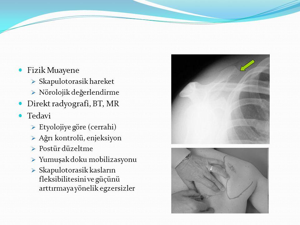 Fizik Muayene  Skapulotorasik hareket  Nörolojik değerlendirme Direkt radyografi, BT, MR Tedavi  Etyolojiye göre (cerrahi)  Ağrı kontrolü, enjeksiyon  Postür düzeltme  Yumuşak doku mobilizasyonu  Skapulotorasik kasların fleksibilitesini ve güçünü arttırmaya yönelik egzersizler