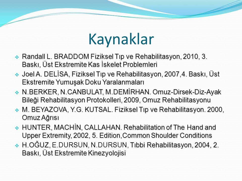 Kaynaklar  Randall L.BRADDOM Fiziksel Tıp ve Rehabilitasyon, 2010, 3.