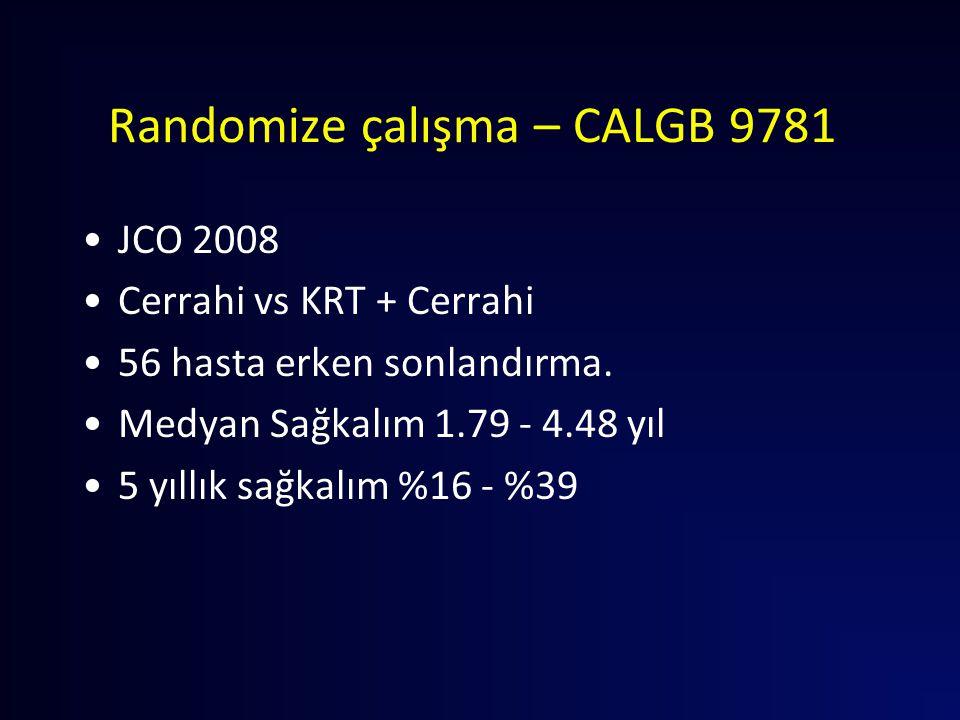 Randomize çalışma – CALGB 9781 JCO 2008 Cerrahi vs KRT + Cerrahi 56 hasta erken sonlandırma. Medyan Sağkalım 1.79 - 4.48 yıl 5 yıllık sağkalım %16 - %