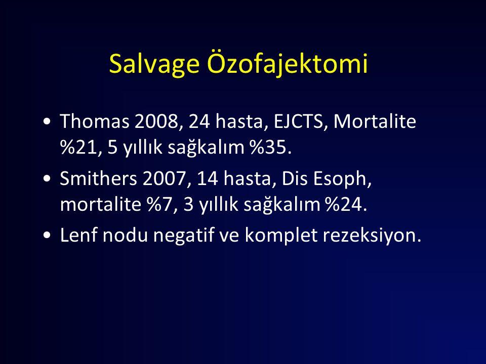 Salvage Özofajektomi Thomas 2008, 24 hasta, EJCTS, Mortalite %21, 5 yıllık sağkalım %35. Smithers 2007, 14 hasta, Dis Esoph, mortalite %7, 3 yıllık sa
