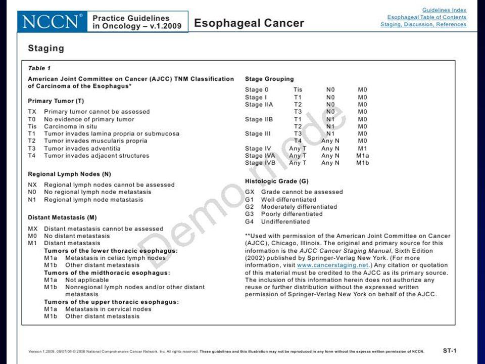 Toraks BT, PET-BT, EUS BT - T4 tümörlerin ayırt edilmesi – yağ planlarının kaybolması PET-BT – uzak metastaz ve LN metastazı (çölyak, supraklaviküler LAP, karaciğer, akciğer ve adrenal) EUS – T evresi için en hassas yöntem.