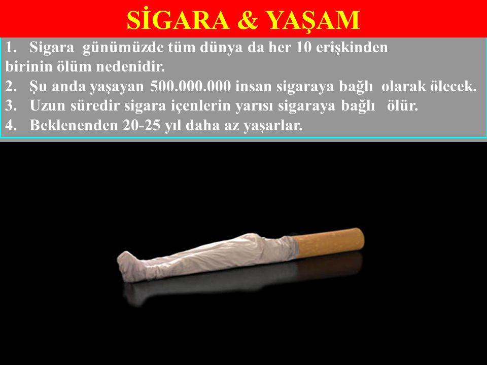 1.Sigara günümüzde tüm dünya da her 10 erişkinden birinin ölüm nedenidir. 2.Şu anda yaşayan 500.000.000 insan sigaraya bağlı olarak ölecek. 3.Uzun sür