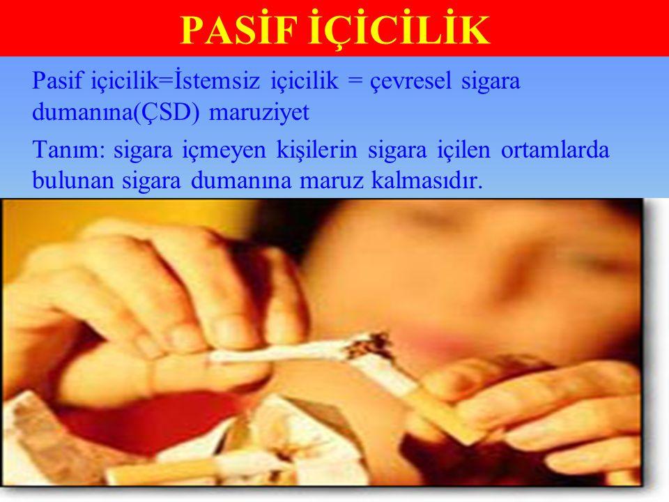 PASİF İÇİCİLİK Pasif içicilik=İstemsiz içicilik = çevresel sigara dumanına(ÇSD) maruziyet Tanım: sigara içmeyen kişilerin sigara içilen ortamlarda bul