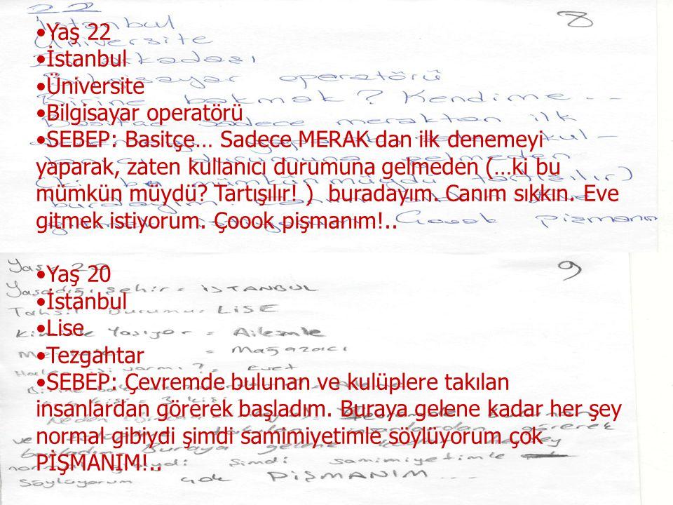 Yaş 22 İstanbul Üniversite Bilgisayar operatörü SEBEP: Basitçe… Sadece MERAK dan ilk denemeyi yaparak, zaten kullanıcı durumuna gelmeden (…ki bu mümkü
