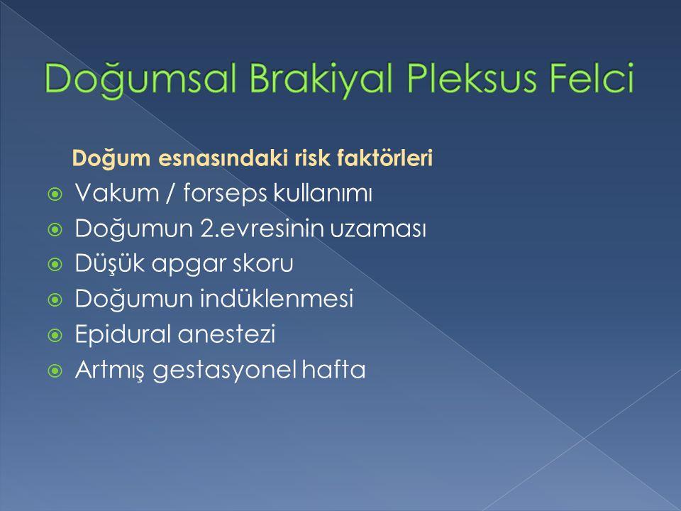 Doğum esnasındaki risk faktörleri  Vakum / forseps kullanımı  Doğumun 2.evresinin uzaması  Düşük apgar skoru  Doğumun indüklenmesi  Epidural anes