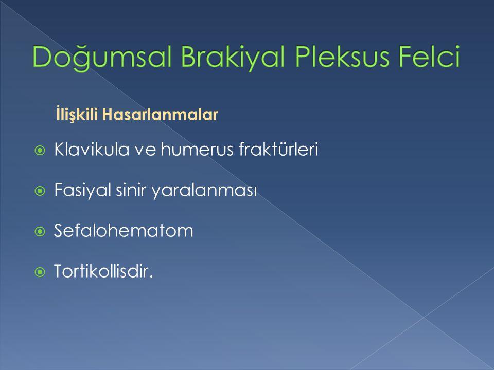 İlişkili Hasarlanmalar  Klavikula ve humerus fraktürleri  Fasiyal sinir yaralanması  Sefalohematom  Tortikollisdir.