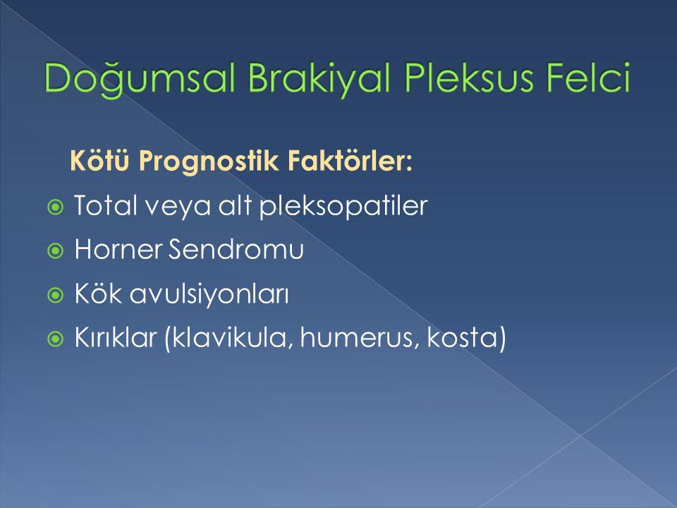 Kötü Prognostik Faktörler:  Total veya alt pleksopatiler  Horner Sendromu  Kök avulsiyonları  Kırıklar (klavikula, humerus, kosta)