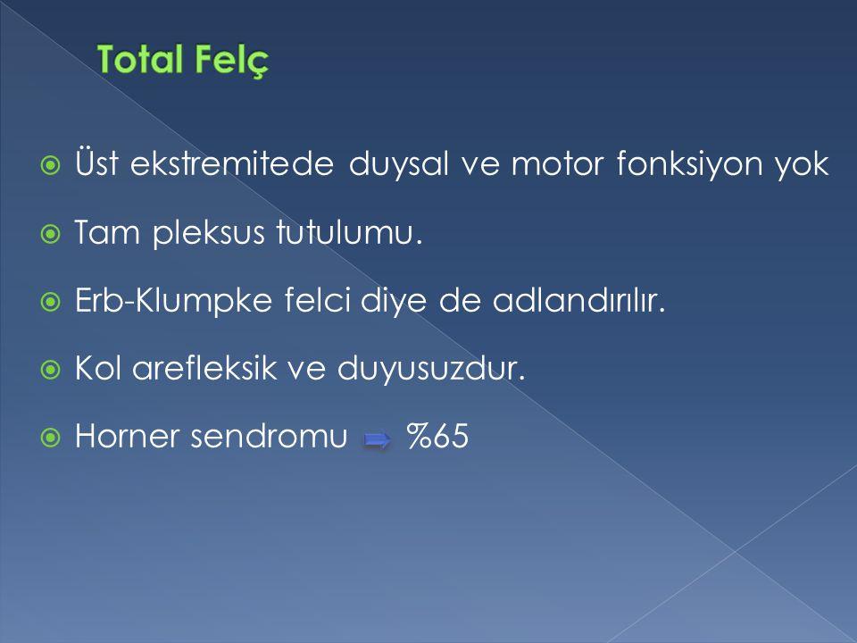  Üst ekstremitede duysal ve motor fonksiyon yok  Tam pleksus tutulumu.  Erb-Klumpke felci diye de adlandırılır.  Kol arefleksik ve duyusuzdur.  H