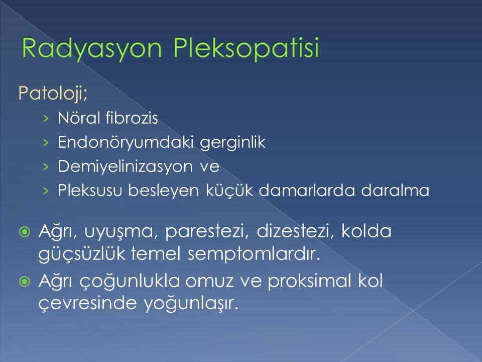 Patoloji; › Nöral fibrozis › Endonöryumdaki gerginlik › Demiyelinizasyon ve › Pleksusu besleyen küçük damarlarda daralma  Ağrı, uyuşma, parestezi, di