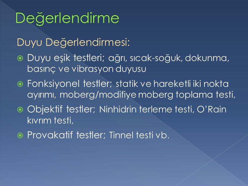 Duyu Değerlendirmesi:  Duyu eşik testleri; ağrı, sıcak-soğuk, dokunma, basınç ve vibrasyon duyusu  Fonksiyonel testler; statik ve hareketli iki nokta ayırımı, moberg/modifiye moberg toplama testi,  Objektif testler; Ninhidrin terleme testi, O'Rain kıvrım testi,  Provakatif testler; Tinnel testi vb.