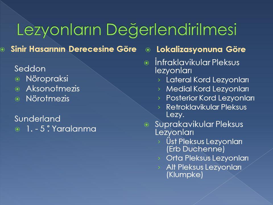 Seddon  Nöropraksi  Aksonotmezis  Nörotmezis Sunderland  1. - 5. Yaralanma  İnfraklavikular Pleksus lezyonları › Lateral Kord Lezyonları › Medial