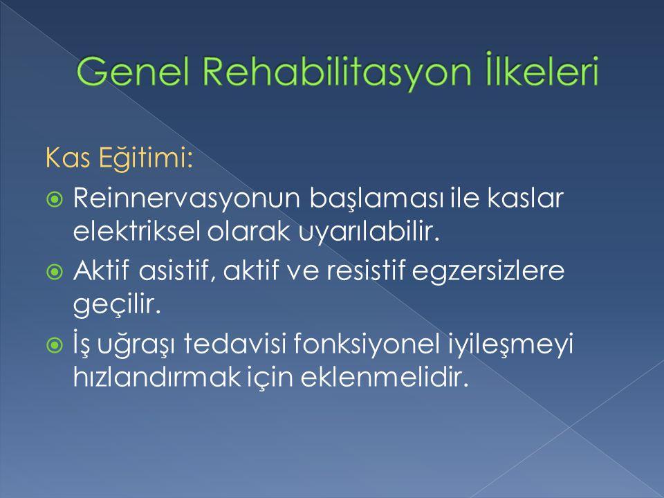 Kas Eğitimi:  Reinnervasyonun başlaması ile kaslar elektriksel olarak uyarılabilir.