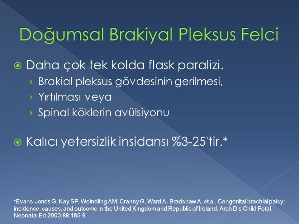  Daha çok tek kolda flask paralizi. › Brakial pleksus gövdesinin gerilmesi, › Yırtılması veya › Spinal köklerin avülsiyonu  Kalıcı yetersizlik insid