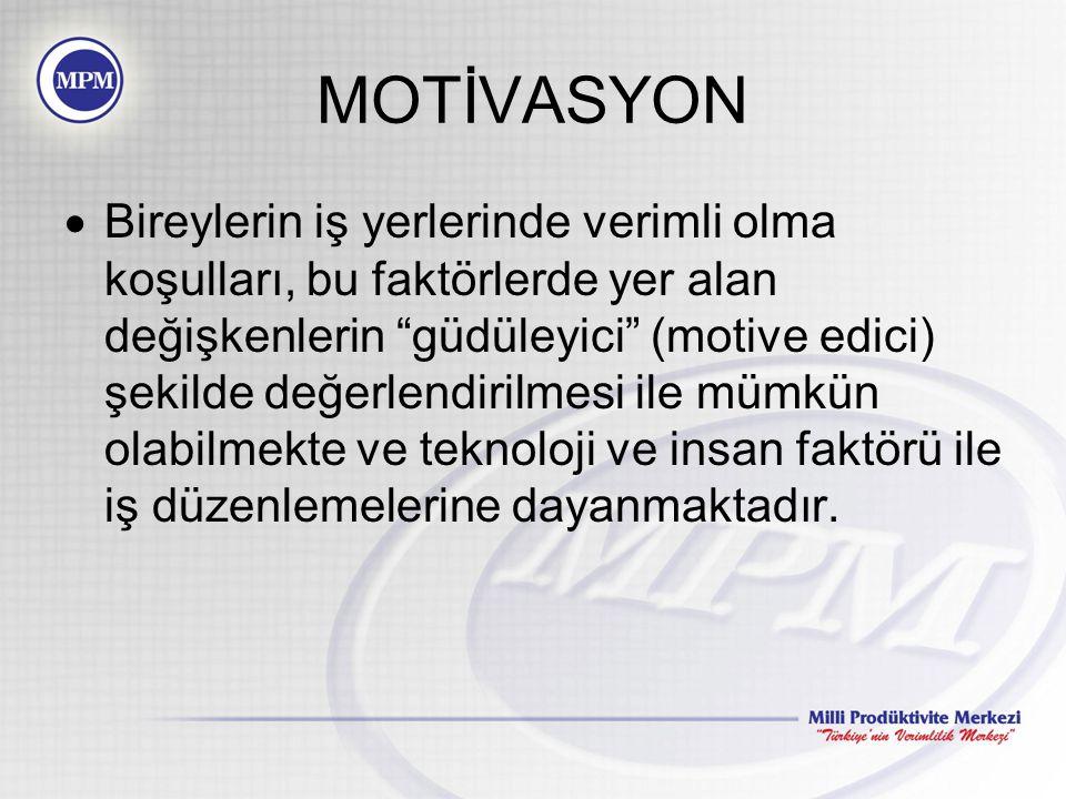 MOTİVASYON Motivasyon veya güdülenme; içten gelen itici kuvvetlerle, –Belirli bir hedefe yönelen, –Belirli bir gayesi (amacı) olan davranışlar için kullanılmaktadır.