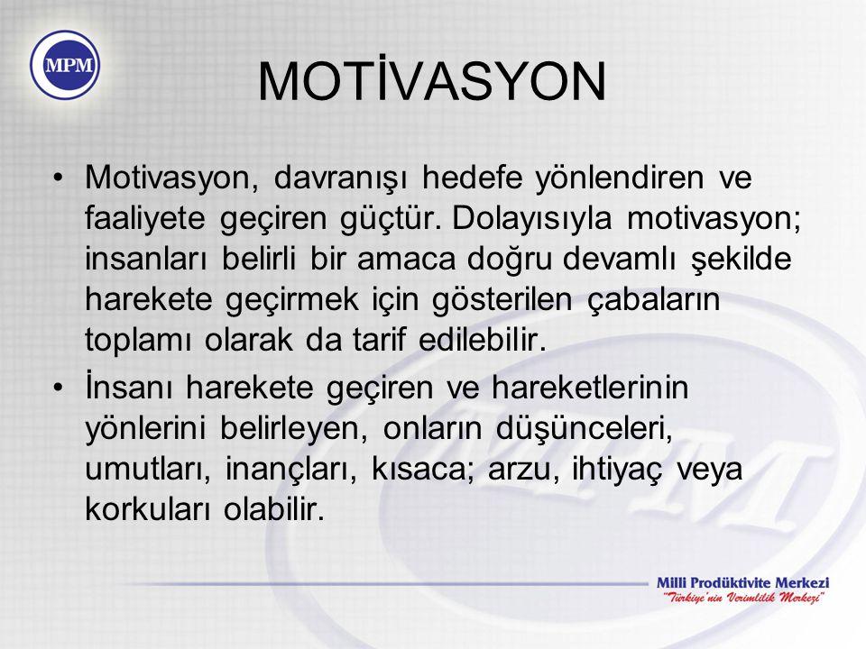 MOTİVASYON Motivasyon, davranışı hedefe yönlendiren ve faaliyete geçiren güçtür.