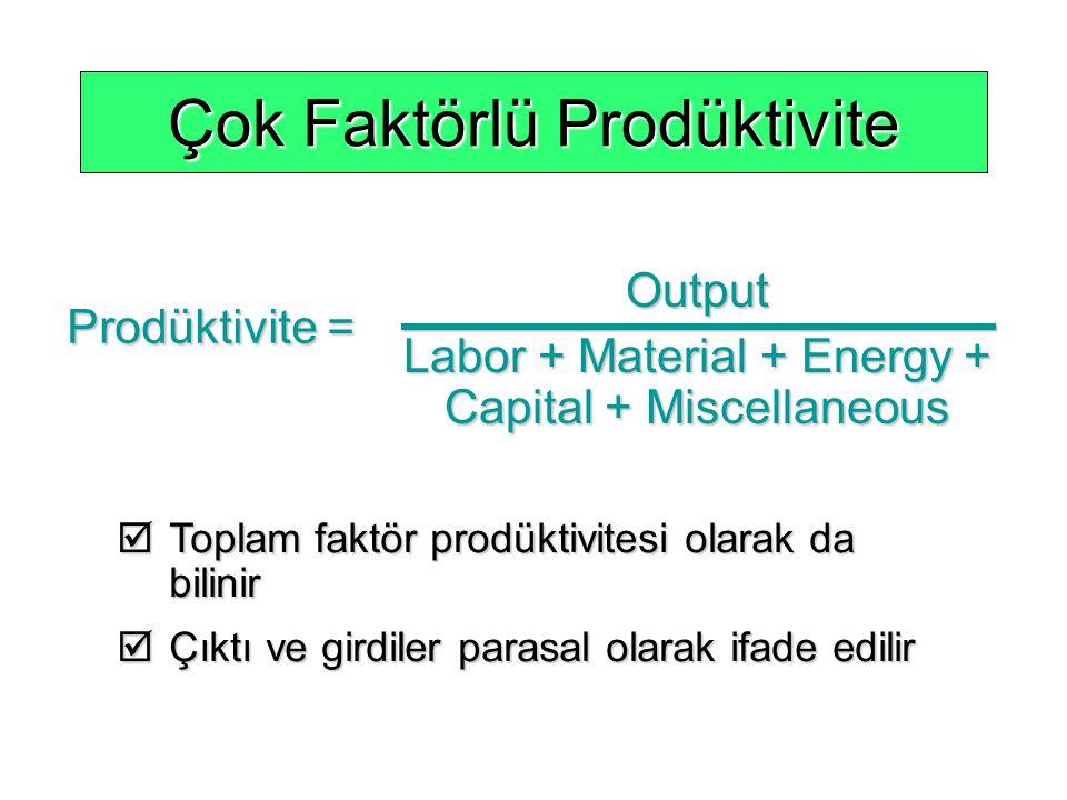 Çok Faktörlü Prodüktivite Output Labor + Material + Energy + Capital + Miscellaneous Prodüktivite =  Toplam faktör prodüktivitesi olarak da bilinir 