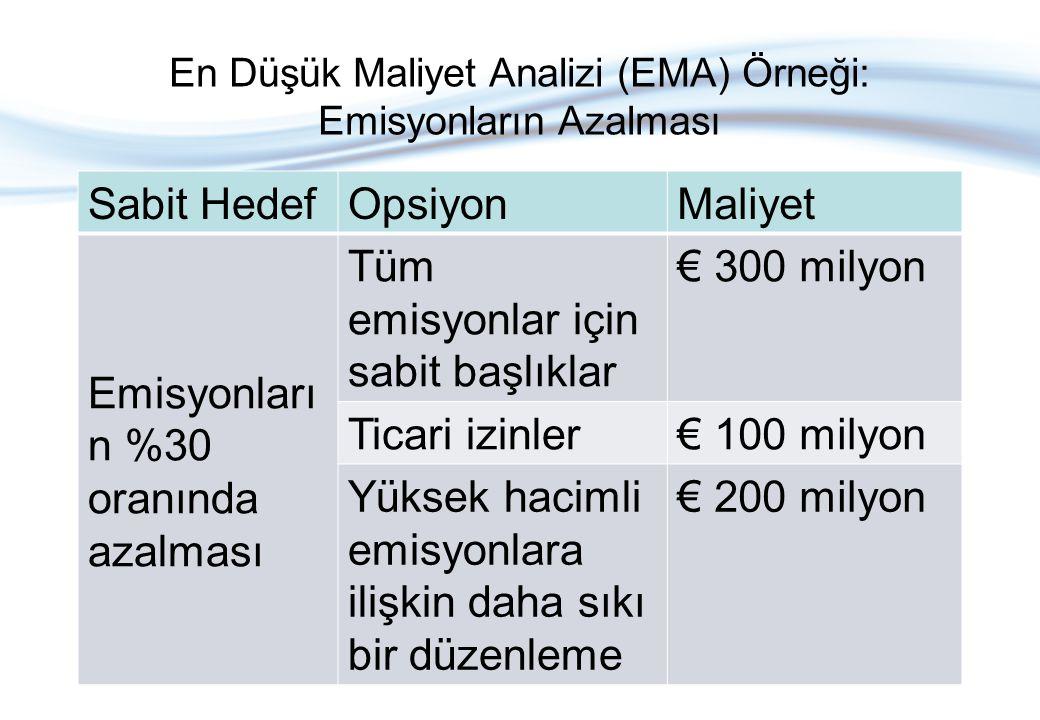 Sabit HedefOpsiyonMaliyet Emisyonları n %30 oranında azalması Tüm emisyonlar için sabit başlıklar € 300 milyon Ticari izinler€ 100 milyon Yüksek hacimli emisyonlara ilişkin daha sıkı bir düzenleme € 200 milyon En Düşük Maliyet Analizi (EMA) Örneği: Emisyonların Azalması