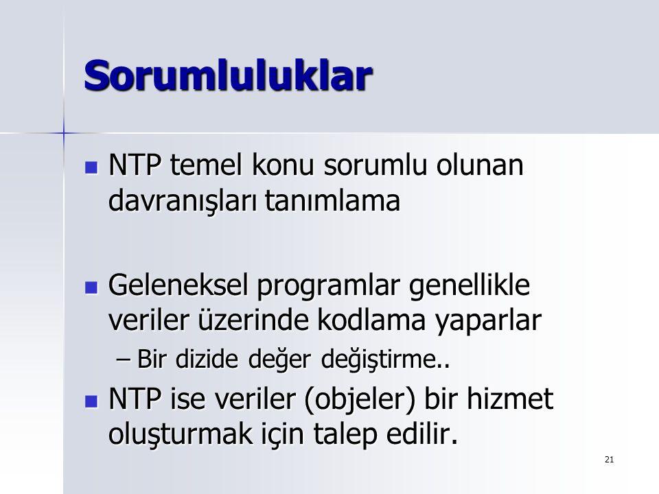 21 Sorumluluklar NTP temel konu sorumlu olunan davranışları tanımlama NTP temel konu sorumlu olunan davranışları tanımlama Geleneksel programlar genel