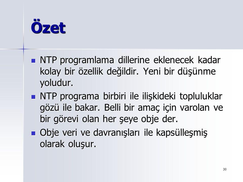 30 Özet NTP programlama dillerine eklenecek kadar kolay bir özellik değildir. Yeni bir düşünme yoludur. NTP programlama dillerine eklenecek kadar kola