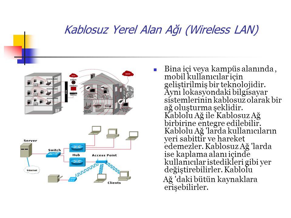 Kablosuz Yerel Alan Ağı (Wireless LAN) Bina içi veya kampüs alanında, mobil kullanıcılar için geliştirilmiş bir teknolojidir.