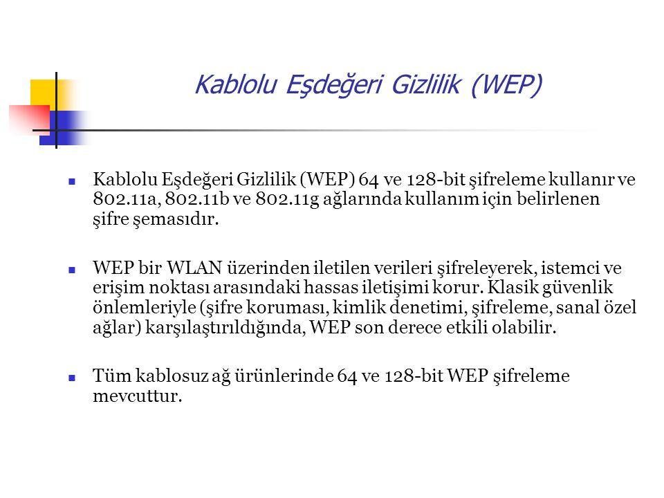 Kablolu Eşdeğeri Gizlilik (WEP) Kablolu Eşdeğeri Gizlilik (WEP) 64 ve 128-bit şifreleme kullanır ve 802.11a, 802.11b ve 802.11g ağlarında kullanım için belirlenen şifre şemasıdır.