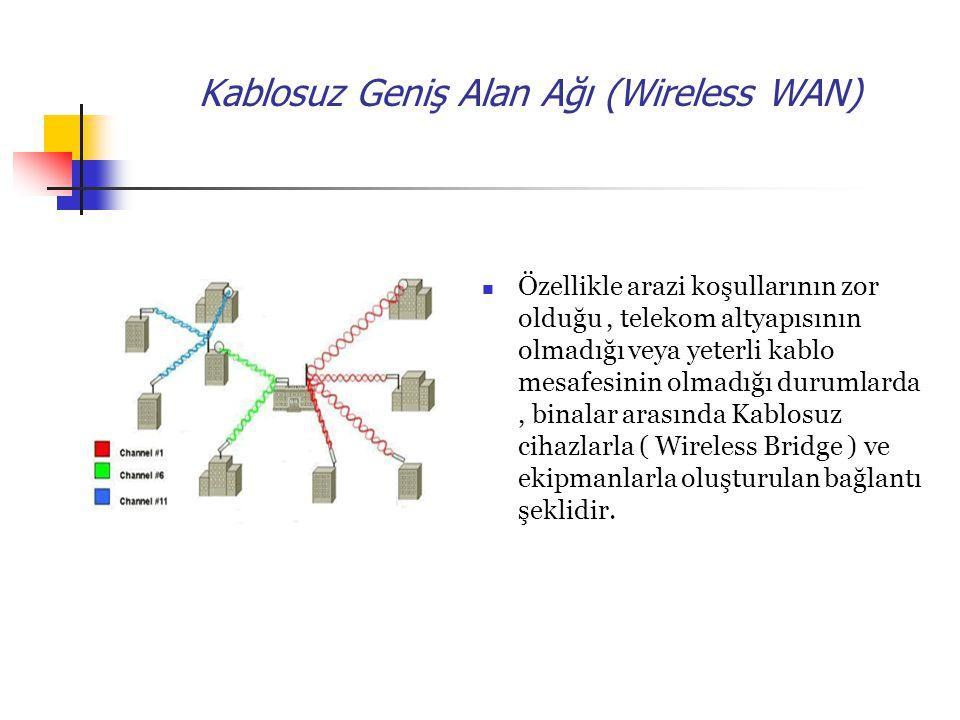 Kablosuz Geniş Alan Ağı (Wireless WAN) Özellikle arazi koşullarının zor olduğu, telekom altyapısının olmadığı veya yeterli kablo mesafesinin olmadığı durumlarda, binalar arasında Kablosuz cihazlarla ( Wireless Bridge ) ve ekipmanlarla oluşturulan bağlantı şeklidir.