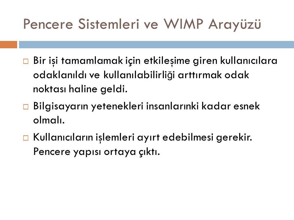 Pencere Sistemleri ve WIMP Arayüzü  Bir işi tamamlamak için etkileşime giren kullanıcılara odaklanıldı ve kullanılabilirli ğ i arttırmak odak noktası